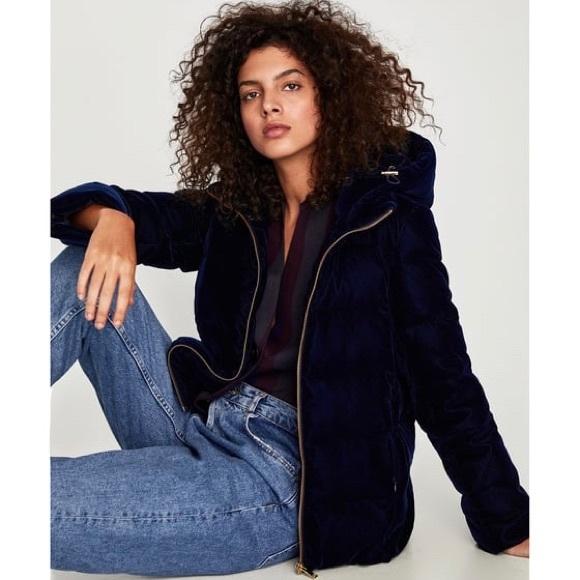 cf3b16639e *NEW* Zara Velvet Down Anorak (Navy Blue)